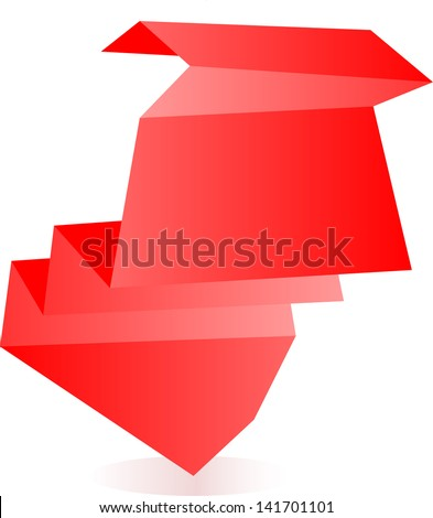 red origami paper banners and stickers, raster - stock photo