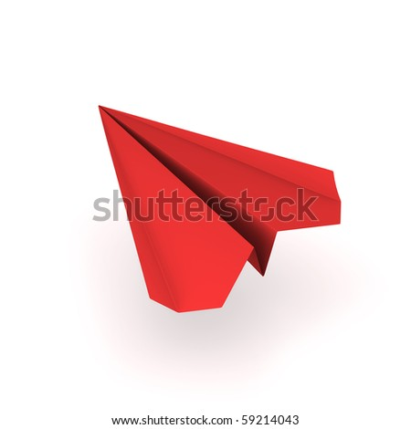 red origami plane - stock photo