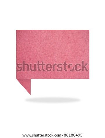 red origami talk tag recycled paper craft stick on white background