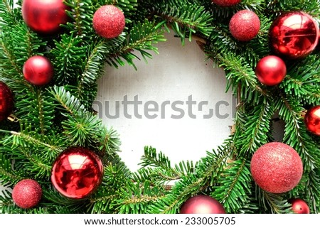 Red ornament ball Christmas wreath - stock photo