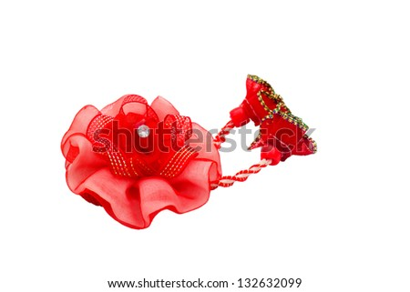 red ornament hairpin isolated on white background clipping path