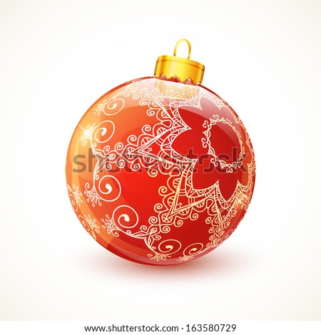Red ornate shining glossy Christmas ball - stock photo