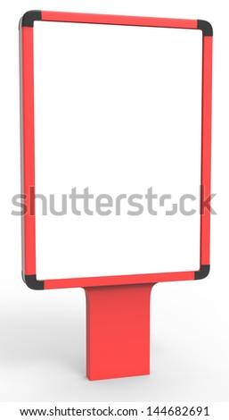 red outdoor advertising citylight - stock photo