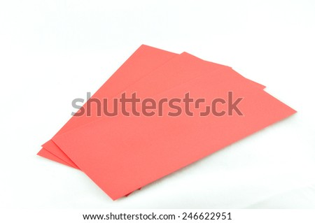 red packet and red gift box on chinese new year concept  - stock photo