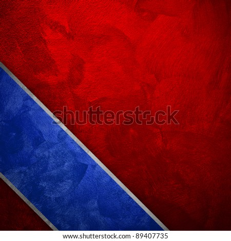 red paint background with blue strip - stock photo