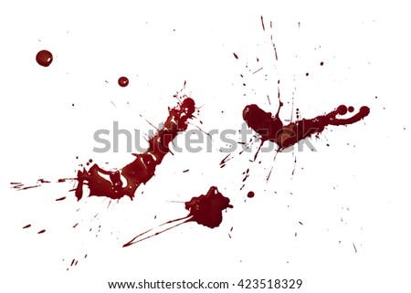 Red paint blots isolated on white background.