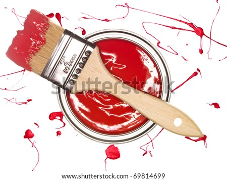Red Paint can and brush from above isolated on a spotted background