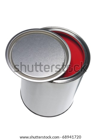 Red Paint can isolated on white background