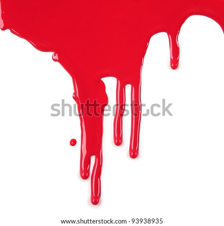 Red Paint Drips on White background - stock photo