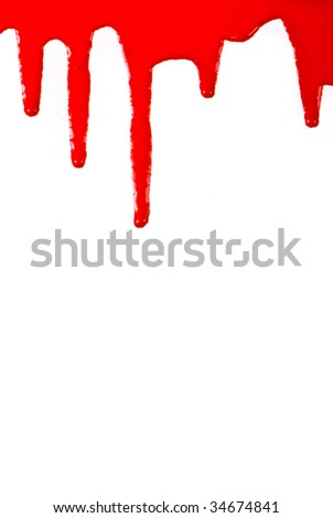 Red paint pouring on white background