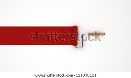 Red Paint Roller - Isolated on White Background - stock photo