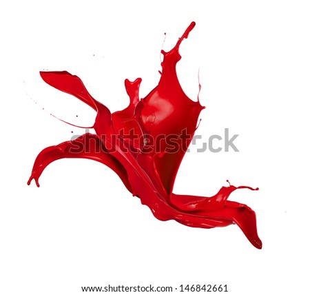 Red paint splash, isolated on white background - stock photo