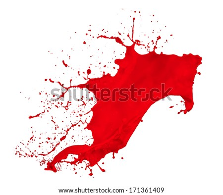 red paint splash isolated on white background - stock photo