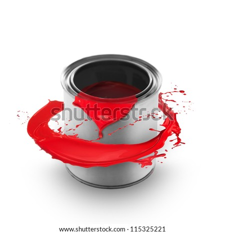 Red paint splashing around the can, isolated on white background - stock photo