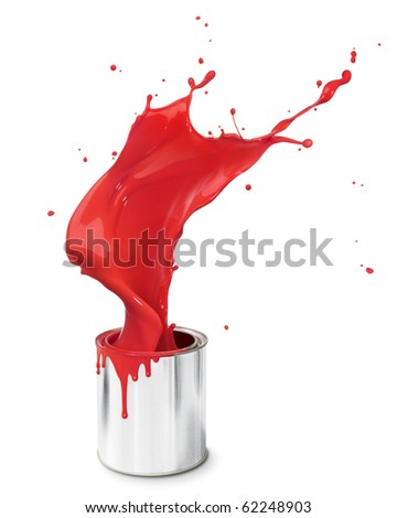 red paint splashing out from its bucket - stock photo