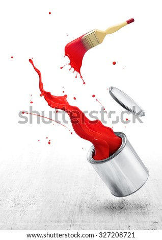 red paint splashing out from its bucket with paintbrush - stock photo
