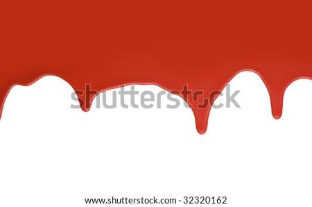 Red paint splatter on white background - stock photo