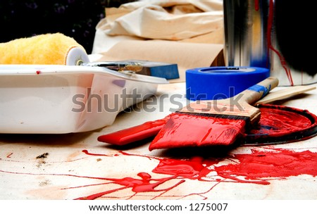 Red Paint supplies - stock photo