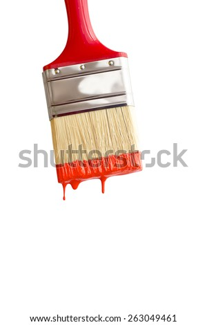 red paintbrush isolated on white macro shot. - stock photo