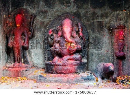 red painted Lord Ganesha in Kathmandu during festival  - stock photo