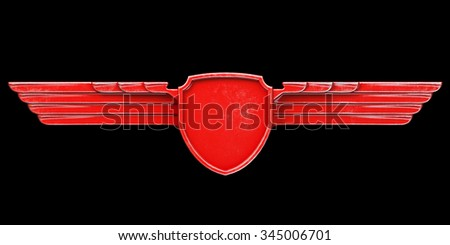 Red painted metal wings isolated on black background front view. 3d render - stock photo