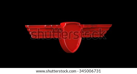 Red painted metal wings isolated on black background left view. 3d render - stock photo