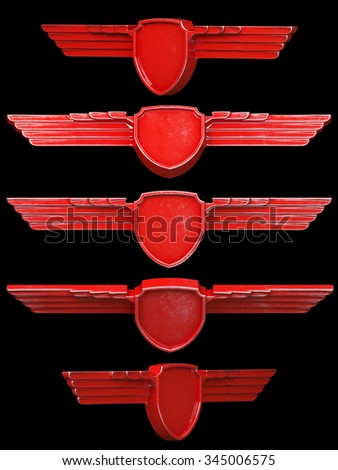 Red painted metal wings set isolated on black background. 3d render - stock photo