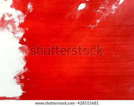 Red painted on white wall, abstract texture background. - stock photo