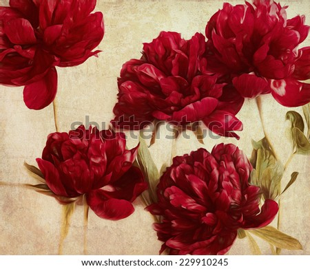 Red painted roses on old vintage paper background - stock photo