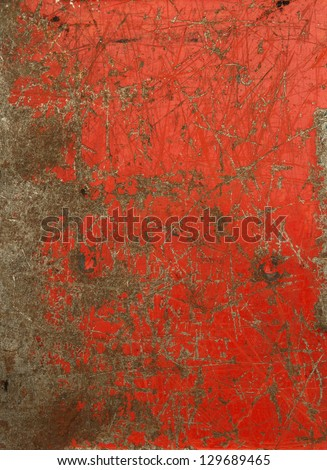 Red painted scratched metal texture. Grunge background. Vintage - stock photo