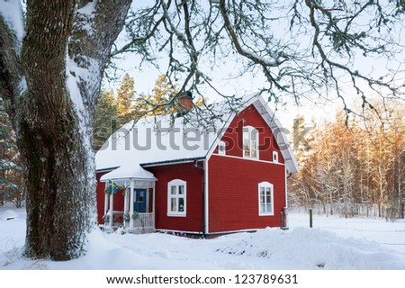 Red painted Swedish wooden house in a wintry landscape - stock photo