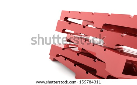 Red palettes rendered on white background - stock photo