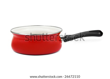 Red pan isolated on white background - stock photo