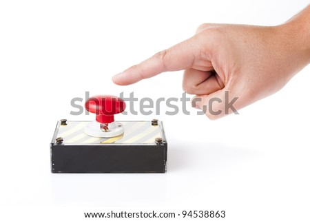 red panic button on white background - stock photo