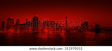 red Panorama Of New York City Concept - stock photo