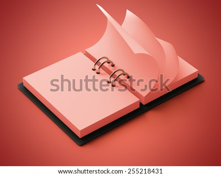 Red Paper Agenda isolated on red background
