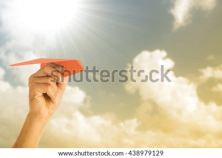 Red Paper airplane freedom for think and creative with your hand