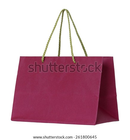 red paper bag isolated on white with clipping path