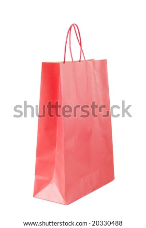 Red paper bag isolated over white background