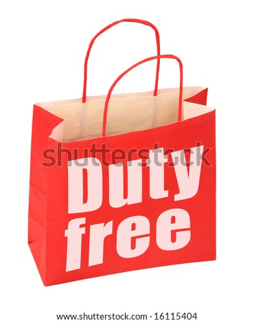 red paper bag with duty free sign on white, photo does not infringe any copyright - stock photo
