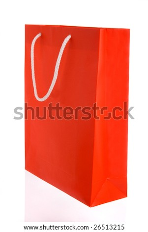 Red paper bag with white handles isolated on white - stock photo