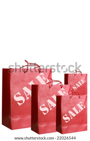 Red paper bags with special offer prizes over white background - stock photo