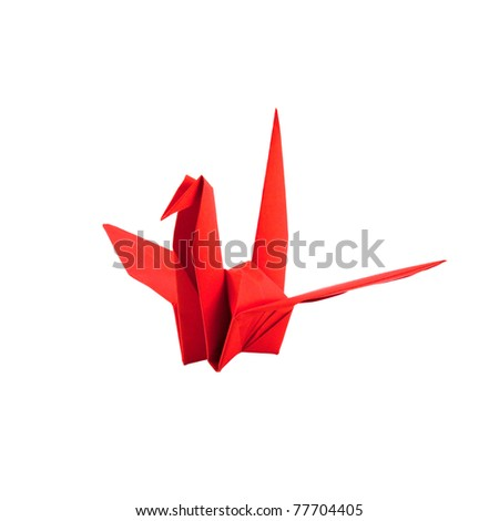Red paper bird isolated on white background - stock photo