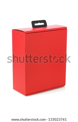 Red Paper Box With Handle Standing on White Background