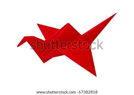 Red paper crane origami bird over white - stock photo