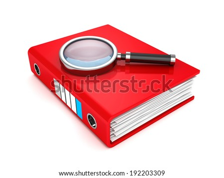 Red paper document folder with magnifier. 3d render illustration - stock photo