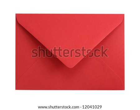 Red paper envelope isolated on white background - stock photo