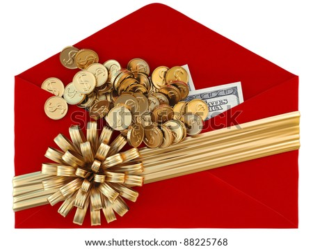 Red paper envelope with a golden ribbon and bow. isolated on white.