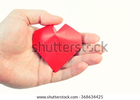 Red paper heart - stock photo