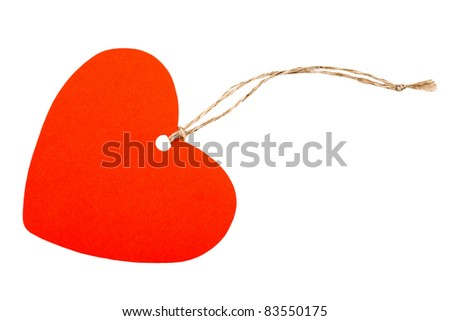 Red paper heart with rope isolated on white - stock photo